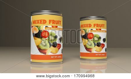 Mixed fruit metallic cans on colored background. 3d illustration