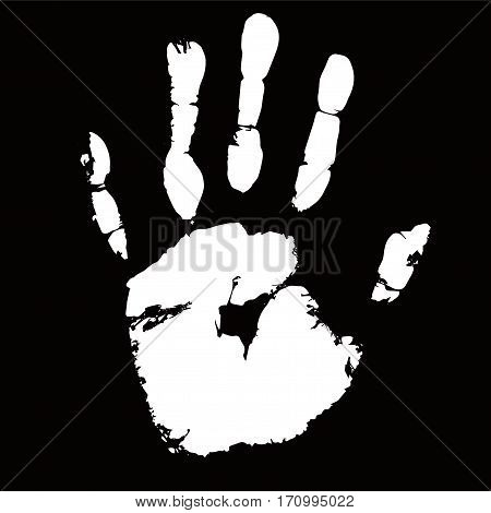 White palmprint shape on black background for secure identification. Vector illustration