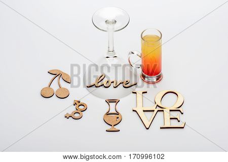 Coctail Sex On The Beach With Love Inscriptions And Wineglass
