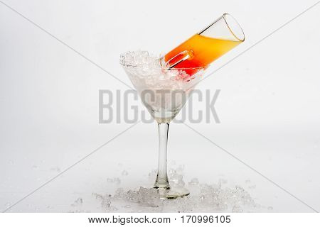 Coctail Sex On The Beach And Wineglass With Ice