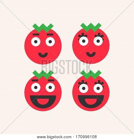 Smiling tomato. Funny tomatoes vector icons illustratin
