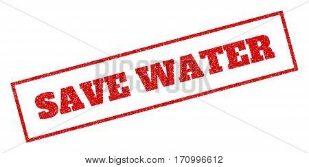 Red rubber seal stamp with Save Water text. Vector tag inside rectangular banner. Grunge design and unclean texture for watermark labels. Inclined emblem.