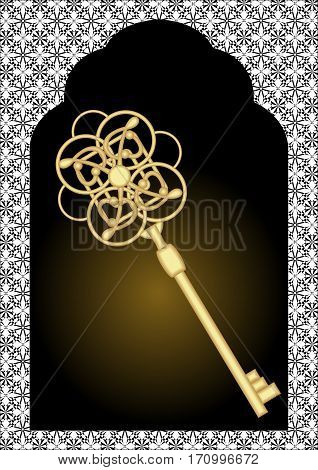 Gate silhouette with vintage gold key. Black and white victorian patterns on background. Luxury golden key on dark background.