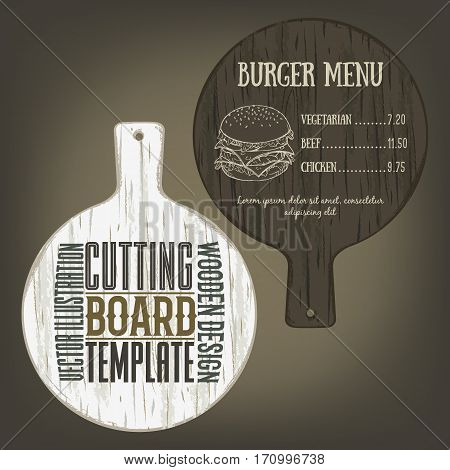 Hand drawn cutting board mockup with handle and usage examples. Vector illustration with textured round plank used as mockup for label, logo, card, poster, advertising bar or pizzeria menu.