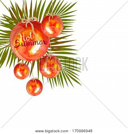 red hanging balls with palm leaves on background
