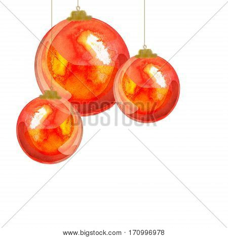 red watercolor hanging balls on white background