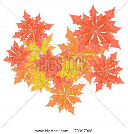 red and yellow hand drawn leaves on white background