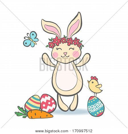 Cute Easter Bunny with eggs carrot chicken and butterfly for baby shower or easter card. Cartoon Rabbit isolated on white. Vector illustration