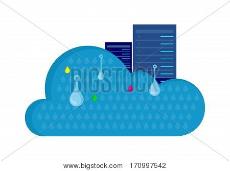 Data protection cloud storage design flat concept. Online storage sign symbol icon. Storage and cloud, cloud computing, cloud backup, data network internet web connection. Saving information. Vector