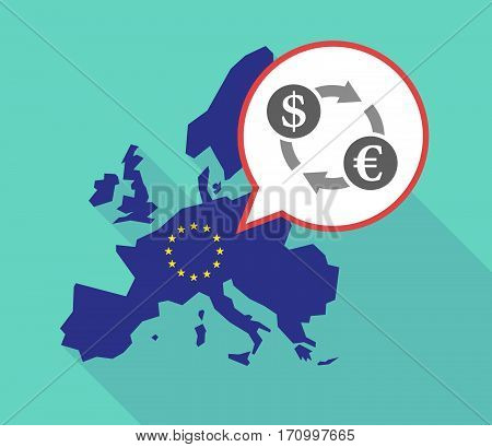 Long Shadow Eu Map With A Dollar Euro Exchange Sign