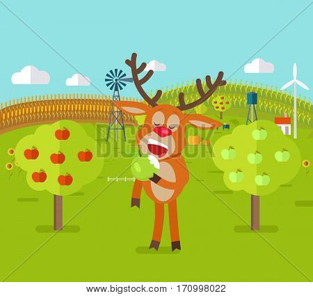 Deer in garden eats apple. Cute reindeer has a snack. Orchard garden and corn field on background. Deer character adventures in flat style design.Windmills and bee house. Vector illustration