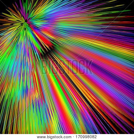 Rainbow explosion abstract multicolored vector background in vivid spectrum colors disco laser show decoration with wild colored rays background for placard bill invitation