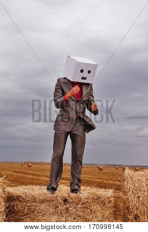 a man with the head of the cardboard box dancing on a haystack