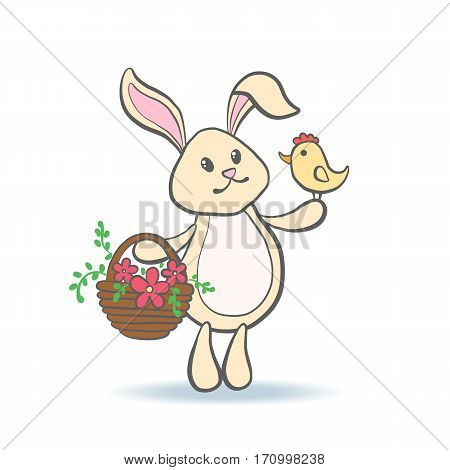 Cute Easter Bunny holding chicken and basket full of flowers for baby shower or easter card. Cartoon Rabbit isolated on white. Vector illustration