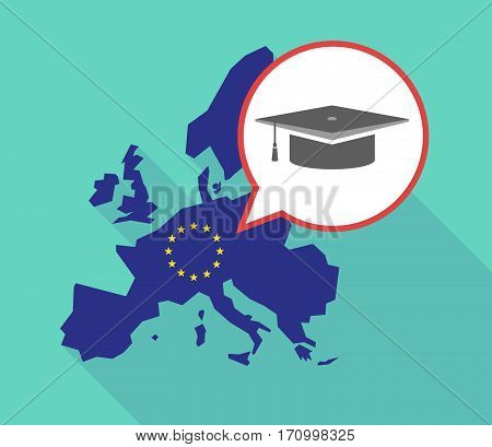 Long Shadow Eu Map With A Graduation Cap