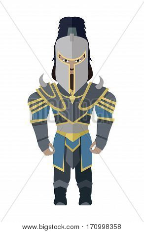 Fantasy knight character vector in flat style design. Warrior game personage in fairy bright armor. Illustration for games industry concepts, icons and pictograms. Isolated on white background.