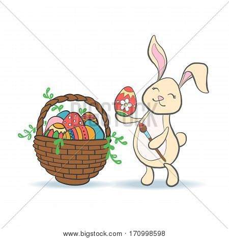 Cute Easter Bunny with colorful egg basket full of eggs and brush for baby shower or easter card. Cartoon Rabbit isolated on white. Vector illustration