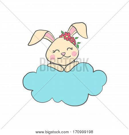 Cute hand drawn bunny on the cloud for baby shower or easter card. Cartoon Rabbit isolated on white. Vector illustration.