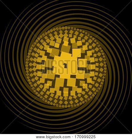 Abstract pattern composed of yellow squares with different color intensity circle shape on swirl beams black background