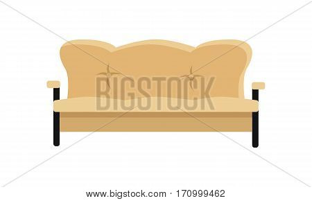 Sofa vector in flat style design. Classic, comfortable leather couch illustration for apartment interior design concepts, furniture shops advertising, app icons. Isolated on white background