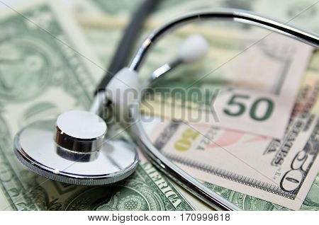 Us Dollar And Stethoscope