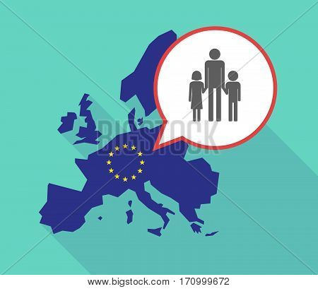 Long Shadow Eu Map With A Male Single Parent Family Pictogram