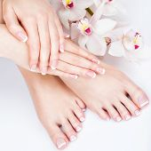 Closeup photo of a female feet at spa salon on pedicure and manicure procedure - Soft focus image poster