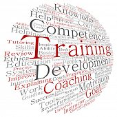 Concept or conceptual training, coaching or learning, study word cloud isolated on background metaphor to mentoring, development, skills, motivation, career, potential, goals or competence poster