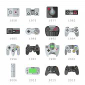 Video game controls, joystick, gamepads gaming vector icons. Control console for video game, set of controller gaming illustration poster