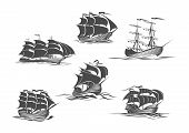 Sailing ship, sailboat, yacht and brigantine isolated icon set. Old sailing vessel under full sails and flags on masts silhouettes for sailing sport, ocean cruise, marine trip, regatta design poster