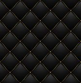Quilted Pattern Background Vip Black with Gold Thread Luxury Expensive Concept Decorative Upholstery Soft Texture. Vector illustration poster