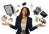 African American businesswoman juggling many objects and feeling overwhelmed poster
