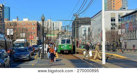Boston - Apr 6, 2014: Boston Metro (mbta) Kinki Sharyo Type 7 Green Line At Boston University In Bos