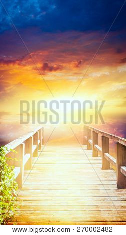 Way To Sky . Stairway To Heaven .  Way To God .  Bright Light From Heaven .  Religious Background  .
