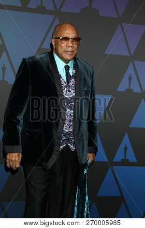 LOS ANGELES - NOV 18:  Quincy Jones at the 10th Annual Governors Awards at the Ray Dolby Ballroom on November 18, 2018 in Los Angeles, CA