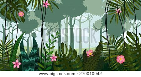 Jungle Forest And Flowers. Trees, Leaves, Flowers, Parallax. Template For Video And Web Design, Apps