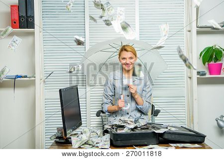 Accountant With Pile Money Hide Under Umbrella. Accountant Enjoy Money Rain. Money Rain Concept. Mon
