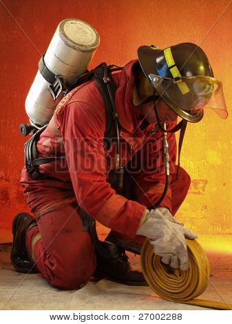 Firefighter in action. poster