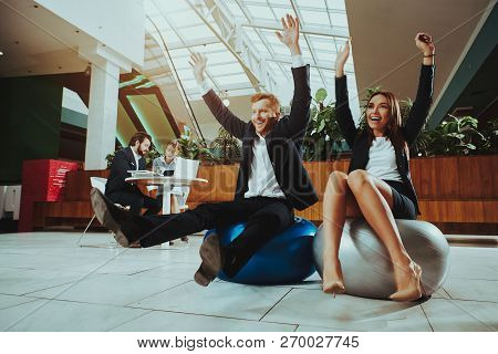 Corporate Sport Lifestyle. Healthcare Of Business People. Worker Relax In Office. Woman And Man Doin