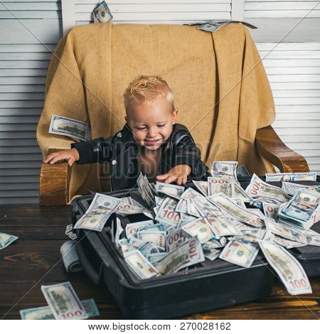 Everything Looks Great. Boy Child With Money Case. Little Boy Count Money In Cash. Small Child Do Bu