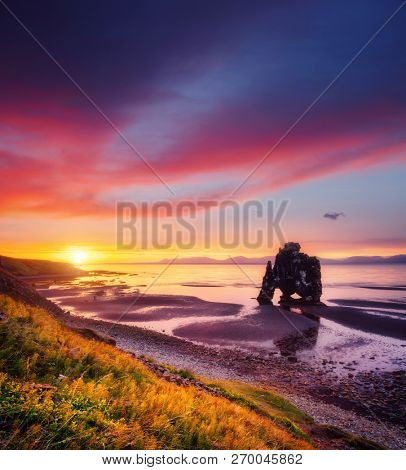 Exotic view of the Atlantic ocean at dawn. Location place Hvitserkur, Vatnsnes peninsula, Iceland, Europe. Scenic image of popular tourist destination. Perfect wallpaper. Discover the beauty of earth.