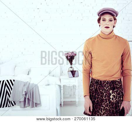 Transgender Sad Man Wearing Fashionable Female Clothes
