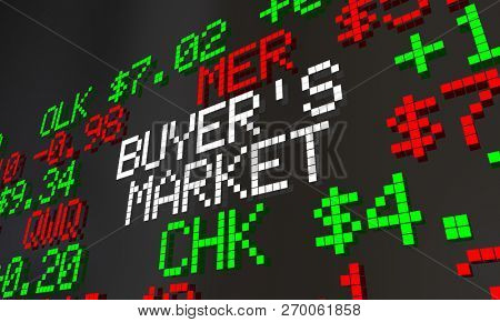 Buyers Market Stock Ticker Low Prices Invest Now 3d Illustration poster