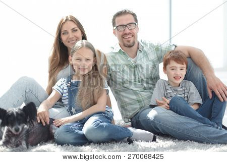 close up.portrait of a happy family
