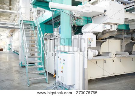 Background Image Of Clean Production Workshop At Modern Factory, Machine Units In Workshop, Copy Spa