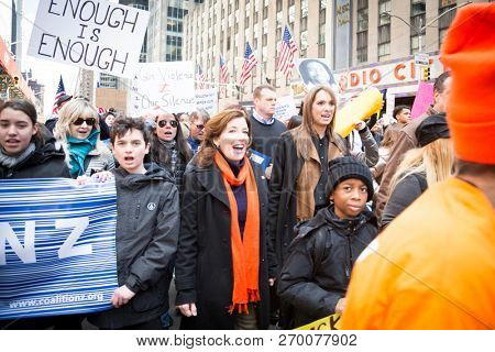 March For Our Lives: Lieutenant Governor Kathy Hochul walks with participants in the march on 6th Ave to end gun violence, NEW YORK MAR 24 2018.
