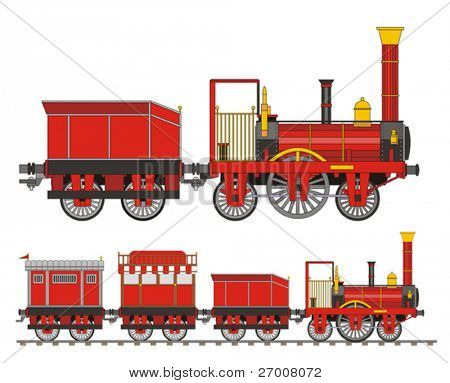 Train steam red old