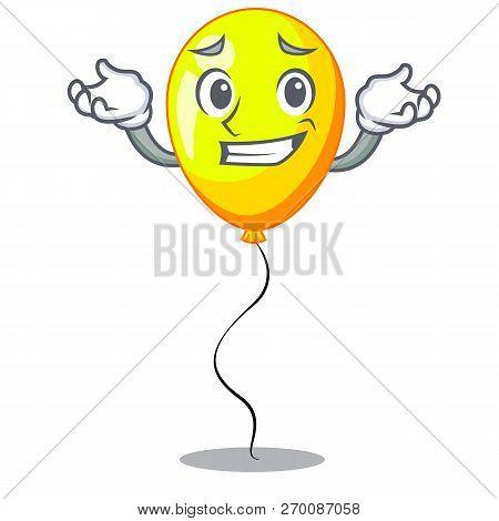 Grinning Yellow Balloon Air In Flying Cartoon