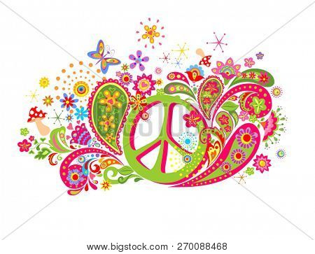 Psychedelic t shirt print with hippie peace symbol, fly agaric, colorful abstract flowers and paisley