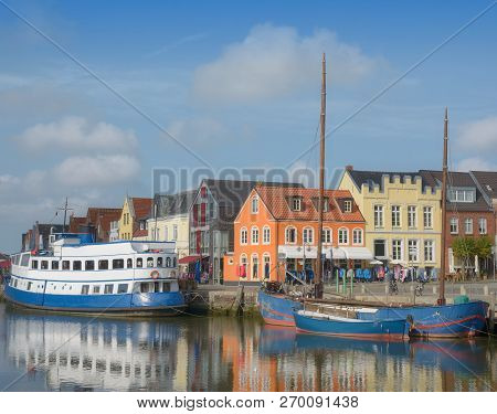 Promenade In Harbor Of Husum At North Sea In North Frisia,schleswig-holstein,germany